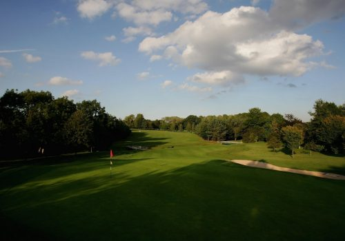 The 11th green looking towards the dogleg on the fairway